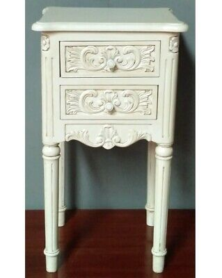 Pair of Solid Mahogany French Rococo Chateau Style Antique White Bedside Chests