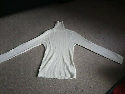Girls cream ribbed polo neck top Next age 6 years