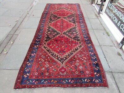 Old Hand Made Traditional Persian Rug Oriental Wool Blue Red Long Rug 330x129cm