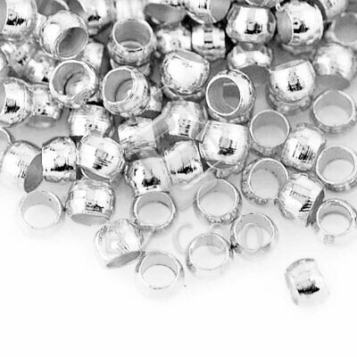 20g(1200pcs) Crimp End Beads Round Silver Jewelry Findings 2x2mm CP0002
