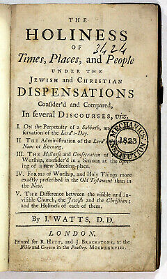 1738 Old Antique 18th Century Theology Watts Holiness Times Places People Scarce