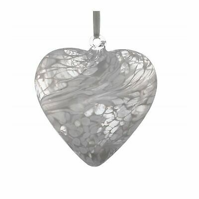 Sienna Glass White 8cm Friendship Heart Hanging Hand Crafted Ornament Gift Idea