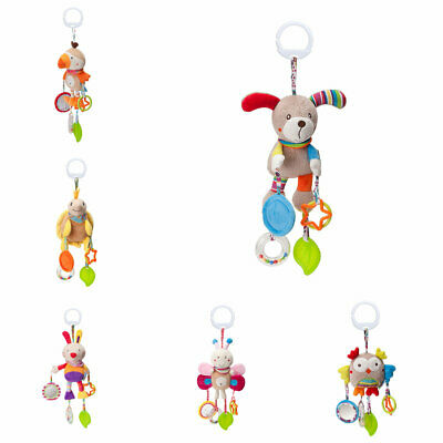 Hanging Rattle Crinkle Squeaky Toy Plush Cartoon Shape Wind Chime with Teether