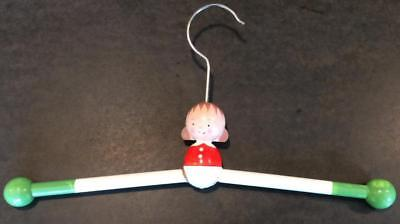 vtg 1950's MCM coat clothes hanger baby painted wood figural childs doll German