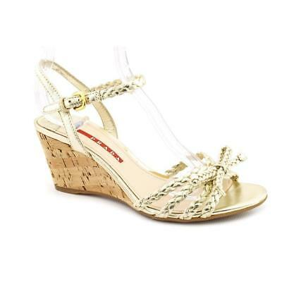 f59889059740 NWB PRADA DONNA Cork Sling Wedge White Patent Leather Sandal 38.5 Us ...