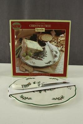 """MODERN China SPODE Christmas Tree APPETIZER Cheese PLATE With Knife NIB 9"""" Wide"""