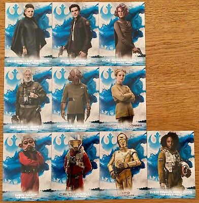 2018 Star Wars The Last Jedi Series 2 Leaders of the Resistance Set 10 cards