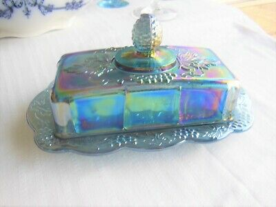 Indiana Glass Blue Carnival Harvest Grape Butter Dish & Lid