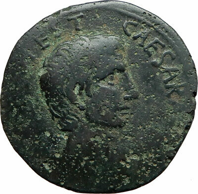 AUGUSTUS Authentic Ancient 15BC Rome Genuine Original Roman As Coin i74607