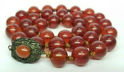 Antique Vtg Chinese Natural Honey AMBER Beads Necklace 50g Rare Cherry Color 13m