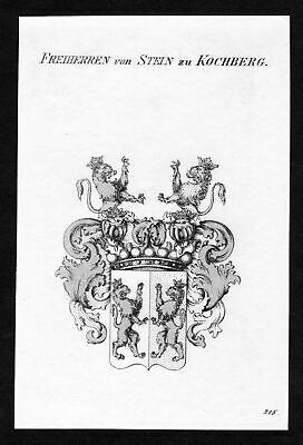 ca. 1820 Stein-Kochberg Wappen Adel coat of arms Kupferstich antique print