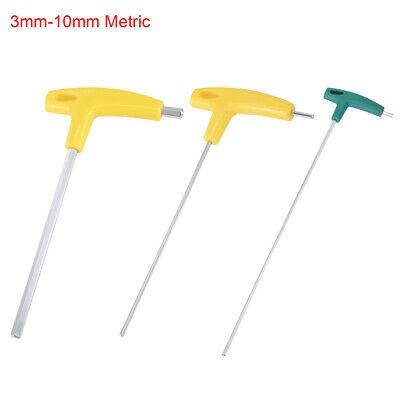 3mm-10mm Metric Extra Long Arm T-Handle Hex Key Wrench Spanner Chrome Finish