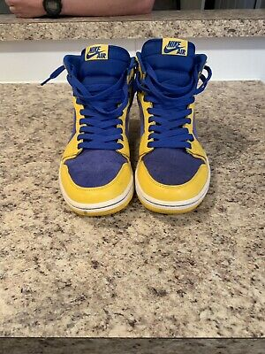 timeless design 4dc40 1223d Nike Air Jordan 1 Retro High OG Laney Blue Yellow 555088-707 Size 8.5 Very
