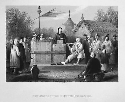 1850 Puppentheater Theater puppet theatre China Asien Asia Stahlstich engraving