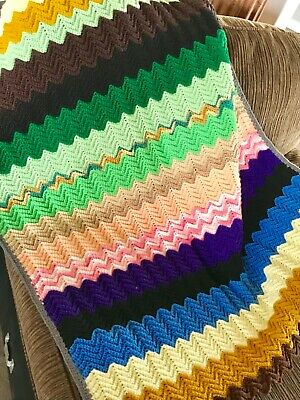 Handmade Multi Color Zigzag Chevron Crochet Afghan Blanket Throw 34x