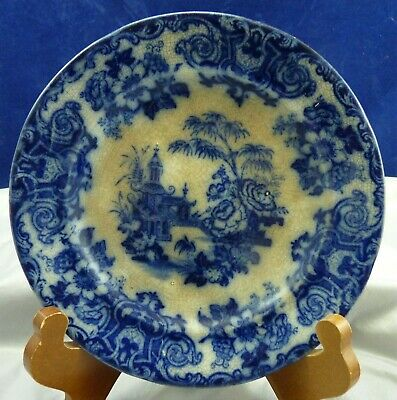 Early Flo Blue Plate With A Japanese Pattern   # 915