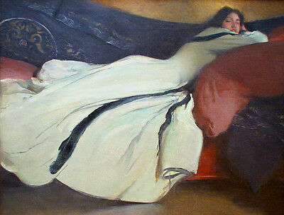 No framed Oil painting female portrait young lady on sofa have a rest - Repose