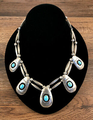 ~17'' Navajo Sterling Silver Shadowbox Necklace with Turquoise Pendants 51.8 Gm