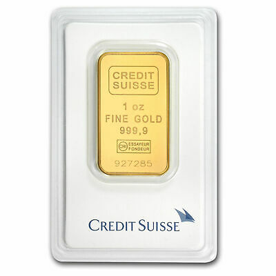 1 oz Gold Bar - CREDIT SUISSE - .9999 Fine in Sealed Assay Card