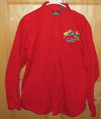 Blue Generation Long Sleeve Button Shirt Red ABC I Love Teaching w/ Kids Size L