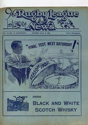 1932 Rugby League News NSW VS England
