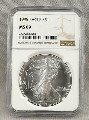 1995 AMERICAN SILVER EAGLE!  NGC MS 69!  Near Perfect!