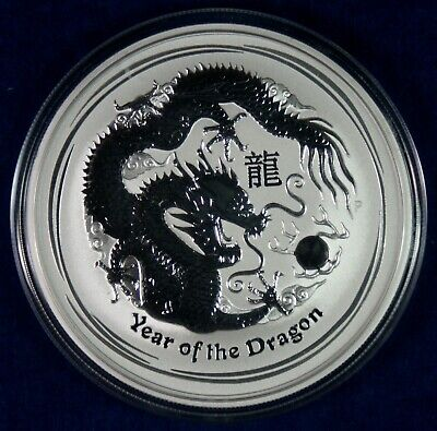 2012 $2 Australia 2 Oz. Silver Lunar Dragon Year of the  Coin