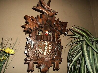 Nice German Black Forest Carved Squirrels Musical Cuckoo Clock With Dancers