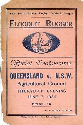 1934 Rugby League Official Programme Queensland VS NSW