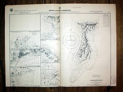 1921 Ports the Sea of Marmara Kalilimno Island Turkey Türkei map Karte Plan plan