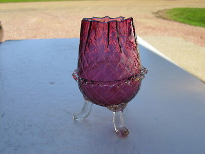 Fancy VTG DIamond Quilted Cranberry Glass Ftd. Rosebowl With Rigaree Italian