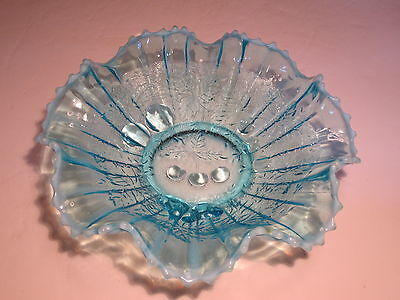 Antique Northwood Stippled Three Fruits Blue Opalescent Glass Ruffled Bowl