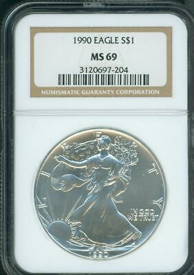 1990 American Silver Eagle S$1 ASE NGC MS69 MS-69 Premium Quality PQ+ !!!