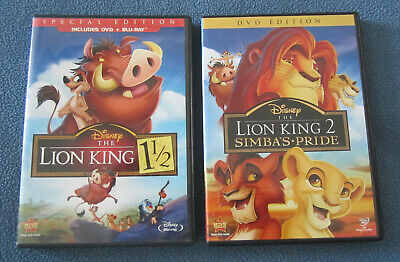 The Lion King 1 1/2 SPECIAL EDITION + Lion King 2 Simbas Pride DVD Lot Disney