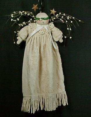 Hand-Crafted Primitive Angel Made From Tea-Stained Hobnail Bedspread