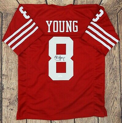2880a4e070a STEVE YOUNG SIGNED Red TB Custom Pro Style Football Jersey w  Shadow ...