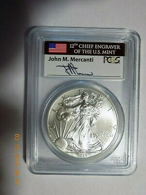 2014 Uncirculated Silver Eagle PCGS MS70 First Strike Mercanti Signature! - 610