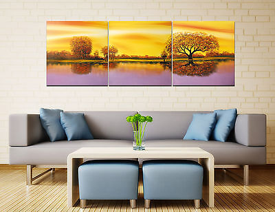 "16x16""3Parts Autumn Landscape Art Printed Painting on Canvas No Frame Home Decor"