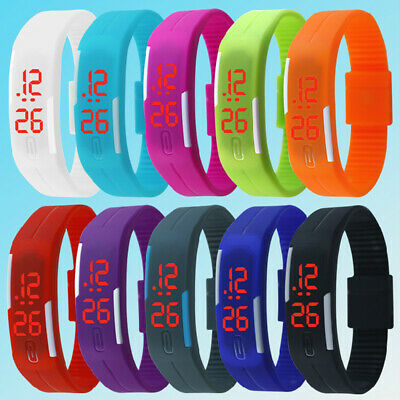 LED Watch Date Sport Bracelet Digital Wristwatch Gift Men Women Rubber Silicone