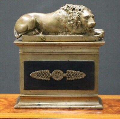 French Empire antique Regency heavy solid bronze recumbent lion statue sculpture