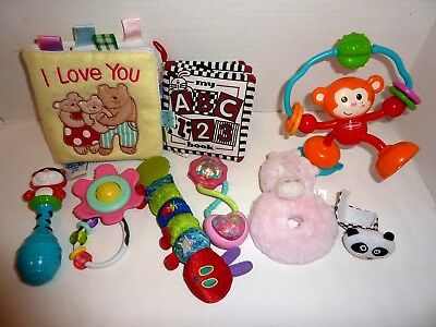 Infant Toy Lot of 9 Developmental Infant Toys Sensory Baby Book Rattle
