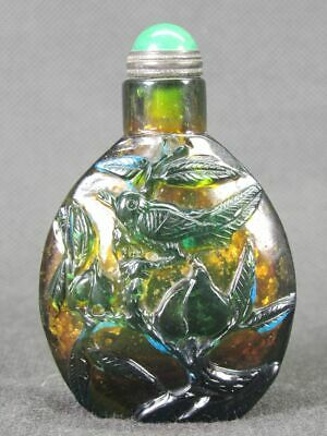 Chinese Flower Bird Carved Peking Overlay Glass Snuff Bottle