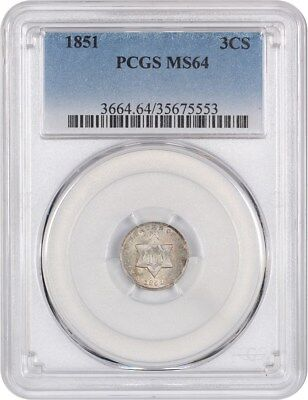 1851 3cS PCGS MS64 - Nicely Original - 3-Cent Silver - Nicely Original