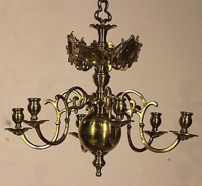Antique heavy solid bronze Baroque candle chandelier provincial candelabra 1800s