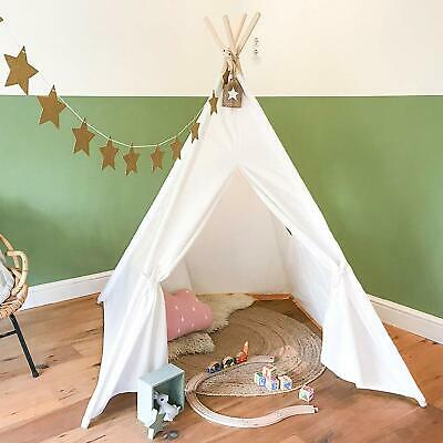 Children's Cotton Canvas Teepee Kids Play Tent Indoor Outdoor Playhouse White