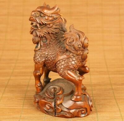 antique chinese old boxwood hand carved kirin statue netsuke collectable