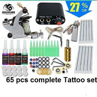 65 pcs Tattoo Complete Pro kIt Machine Gun 4 Color Inks Body Art Painting Set