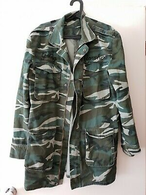 Trench coat gothic Disturbia Clothing brand punk and goth camo jacket