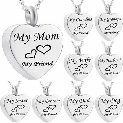 Cremation Jewellery for Ashes Funeral  Pendant Silver Heart Urn Necklace