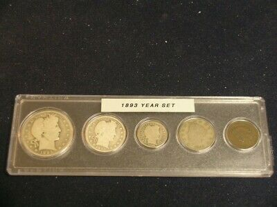 1893 Vintage Circulated Year Set - Nice 5-Coin set